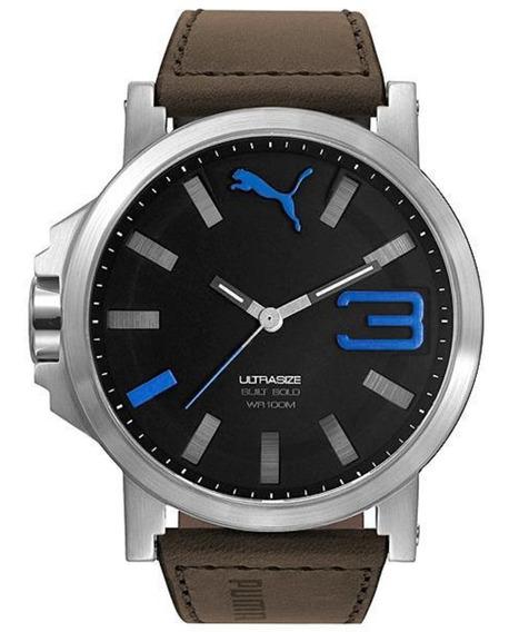 Relógio Masculino Puma Pu103911013 - Marrom E Prata Com Nfe