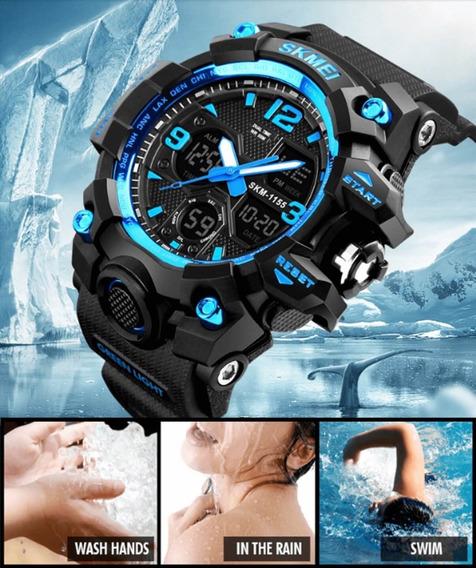 Relógio Masculino Azul Skmei Shock Prova D