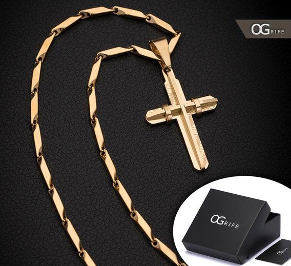 Corrente Cordão Ogrife Crucifixo J-102 Aço Banhado Ouro 70cm