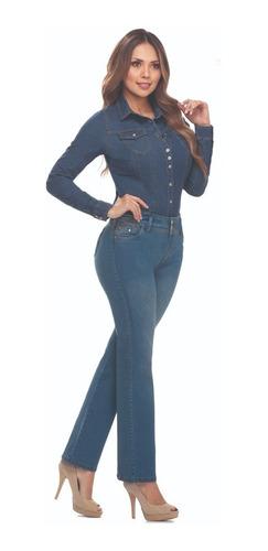 Imagen 1 de 2 de Jean Plus Size Cromo Jeans Tiro Alto Bota Recta