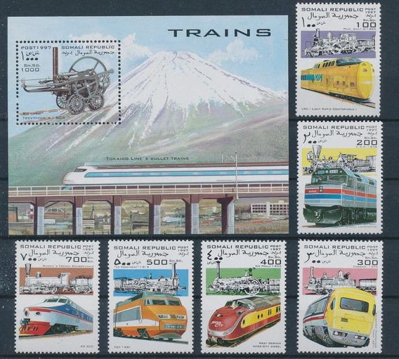 Somalia 1997 Trenes Serie Completa Sellos Y Hb Mint