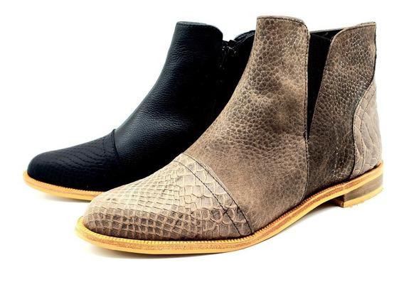 Botineta Bota Corta Chata Cuero Mujer Zapato Dallas/hr
