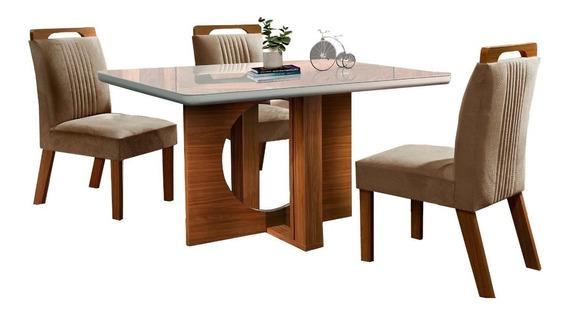 Conjunto Mesa De Jantar Luxo 04 Cadeiras, Tampo De Vidro