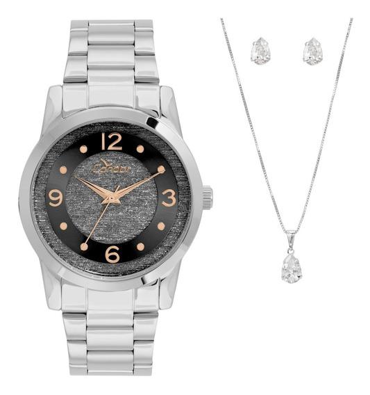 Relógio Condor Feminino Prateado Kit Original Co2039ap K3p