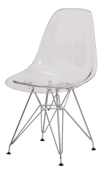 Cadeira Eiffel Eames Dsr Base Cromada Várias Cores