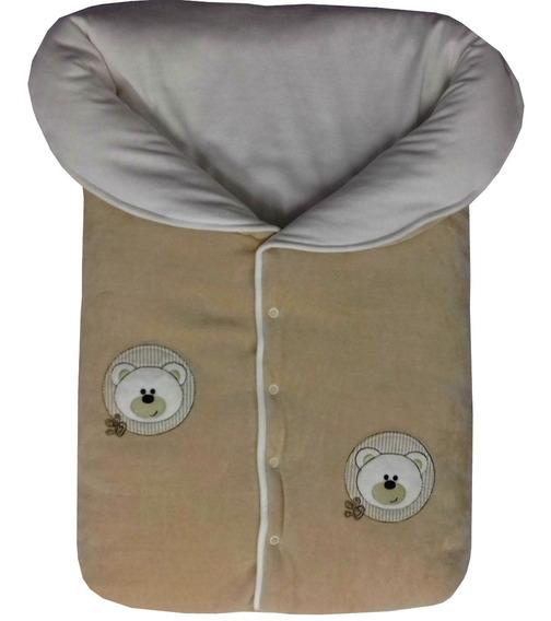 Saco Dormir Menino Plush+suedine Bordado Brasão Urso Carão