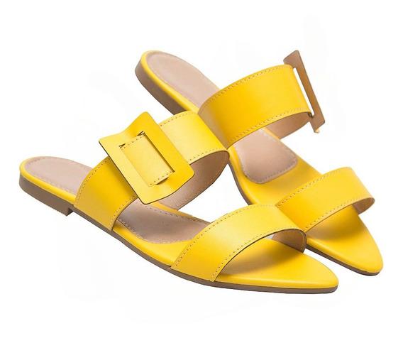 Sandália Rasteirinha Feminina Tamanco Amarelo Rasteira Verão