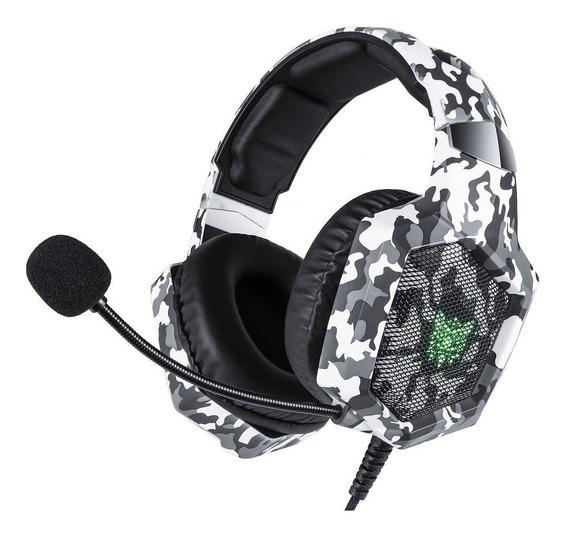 Fone Ouvido Headset Gamer K8 Camuflado Rgb Led Onikuma Sound