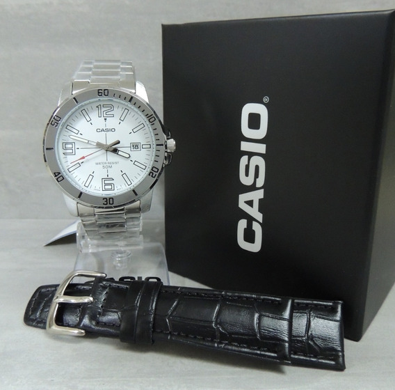 Relógio Masculino Casio Mtp-vd01d-7bvudf + Pulseira Extra Nf