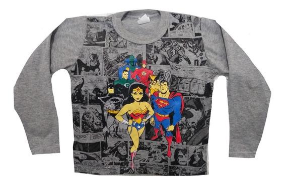 Kit 6 Camiseta Blusa Manga Longa Infantil Menino Herois