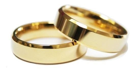 Par Aliança Casamento Ouro 18k 750 Chanfrada 6mm 10 Gramas