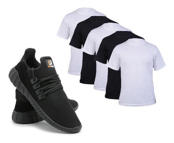 Kit C/ 5 Camisetas 100% Algodão + Tênis Caminhada Conforto