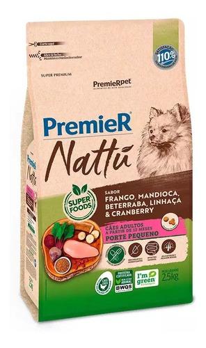 Ração Premier Nattu Cães Ad Raças Pequenas Mandioca 2,5kg
