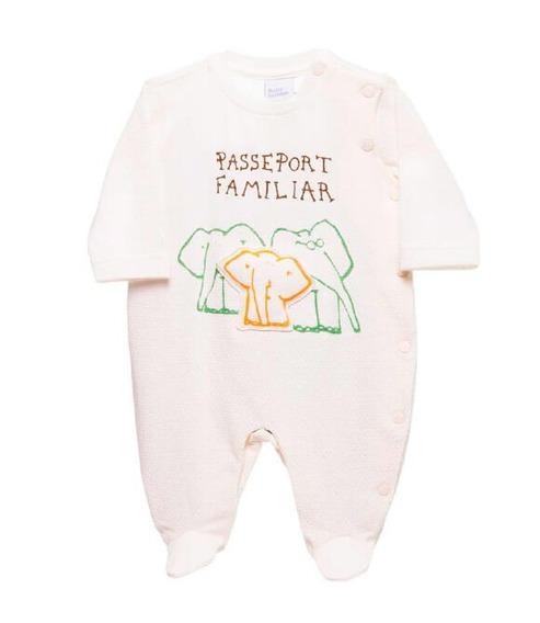 Macacão De Bebê Unissex Família Elefante Off White