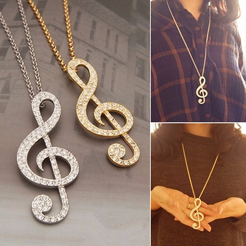 Colar Nota Musical Clave De Sol Dourado
