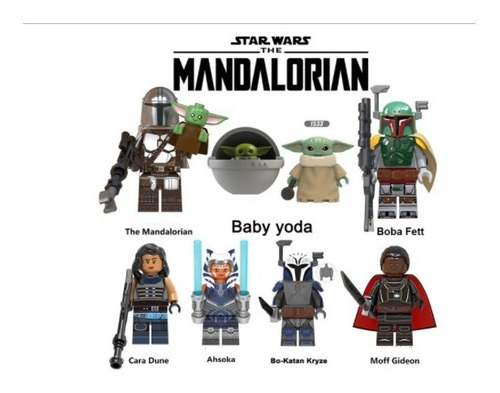 Mini Figuras Mandalorian Starwars Baby Yoda Jedi 8pzas Nuevo