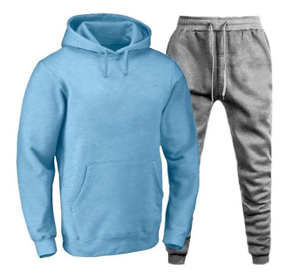 Conjunto Moletom Masculino Blusa De Frio Com Bolso Canguru