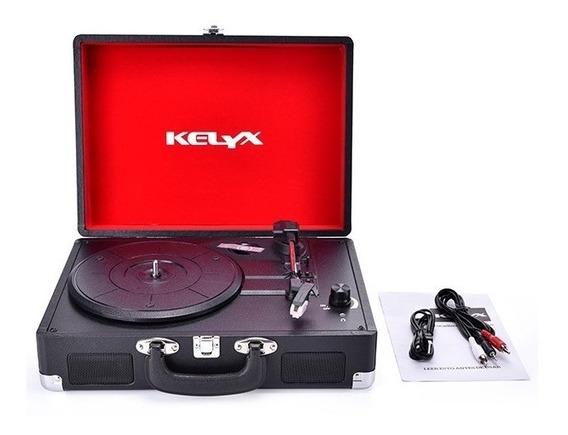Tocadiscos Kelyx Retro Kldp01 Bluetooth Y Parlantes Negro
