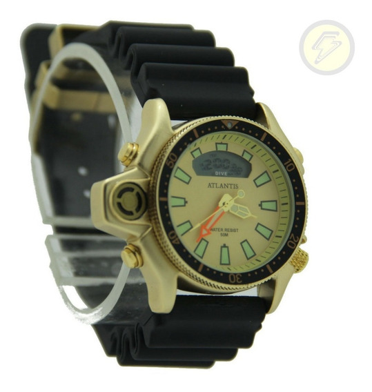 Relógio Dourado Social Sport Original Serie Ouro Borracha