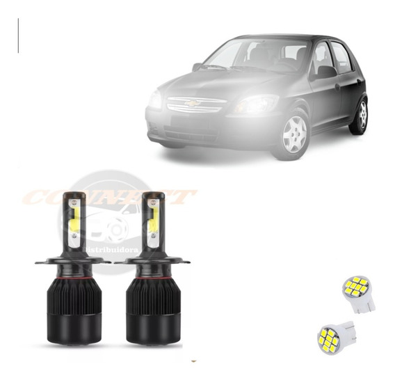 Kit Xenon Led Plus 8000k Farol Alto/baixo Celta H4 20000lm