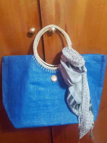 Bolso.tote.canasta.tejido Importado Azul Playero ++ 2regalos
