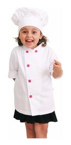 Kit Dolma Chef Infantil Menina E Chapeu Bordado Nome E Prof.