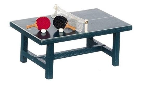 Dollhouse Miniatura Mesa De Ping Pong Con Dos Paletas