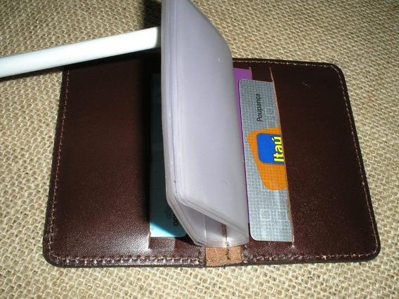 Porta Cartões De Banco - Couro Legítimo - Pinhão Liso