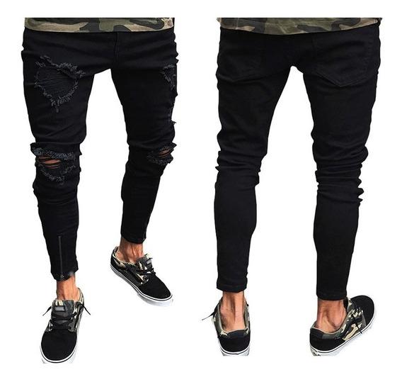 Moda Slim Fit Arrancó Jeans Largos Para Caballeros