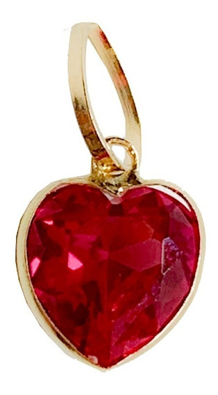 Pingente Coração Pedra Vermelho Rubi Joia Ouro 18k Garantia