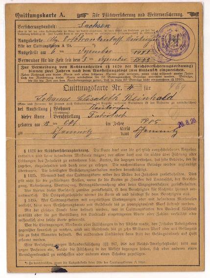 Alemania Reich Cartilla C/ Sellos De Invalidos I G. Mundial