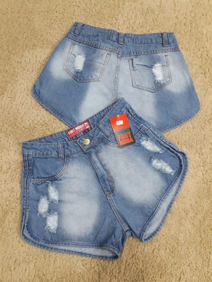Short Jeans Bermuda Feminino Cintura Alta Hot Pant Destroyed