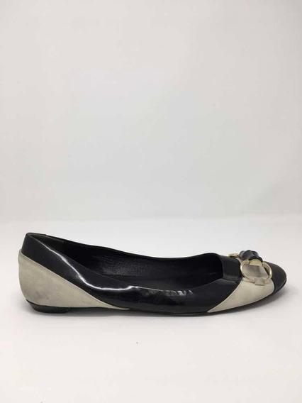 Flats Gucci Negros Con Blanco Talla 6 Mx