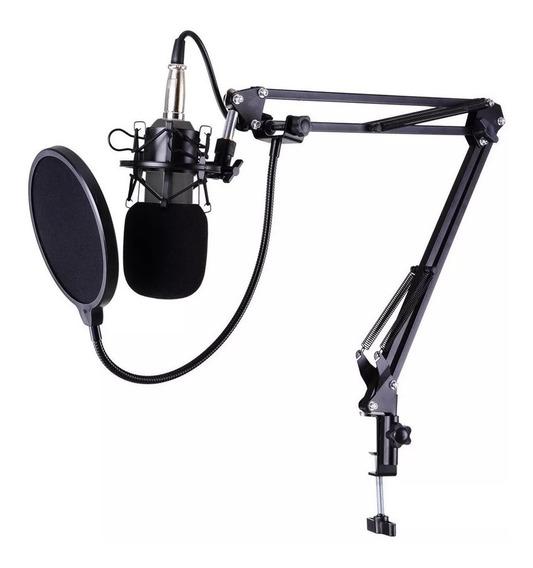 Kit Microfone Estúdio Bm800 + Aranha + Braço + Pop Filter