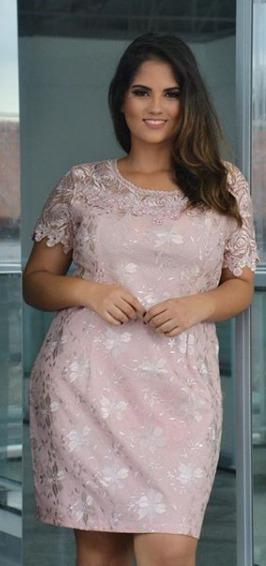 Vestido Renda Plusize Festa Moda Evangelica Casamento Rose