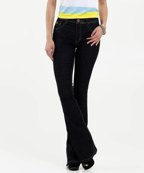 Calça Feminina Jeans Cintura Média Flare Biotipo