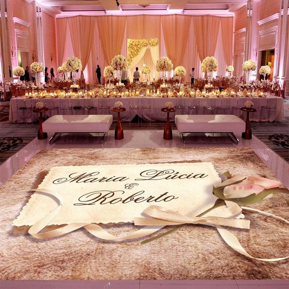 Pista De Dança Para Casamento Rústico Rosas Ps26 - 5x5m