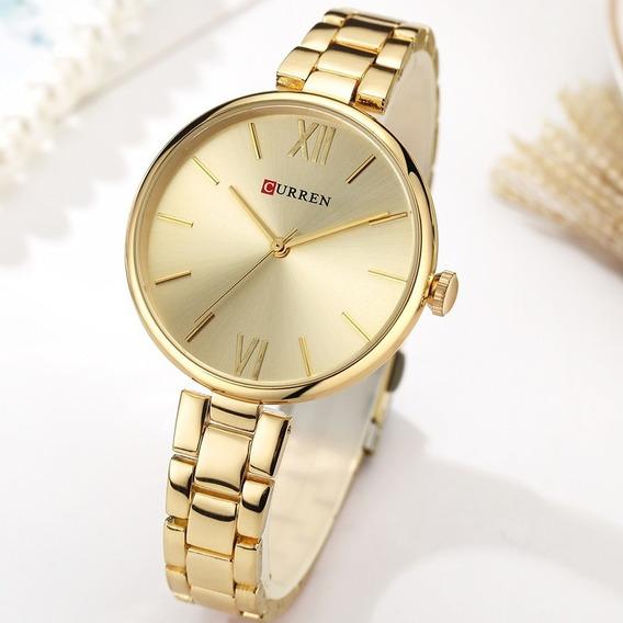 Relógio Analógico Curren 9017, Ouro Feminino