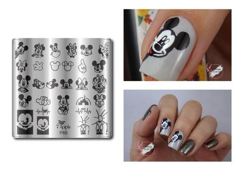 Placa Para Carimbo De Unhas Apipila P80 # Mickey #