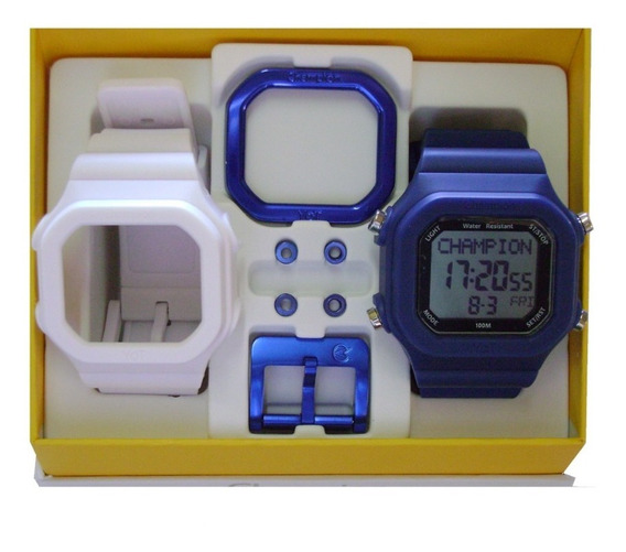 Relógio Champion Yot Original Cp40180x Nf Branco Azul Marinho