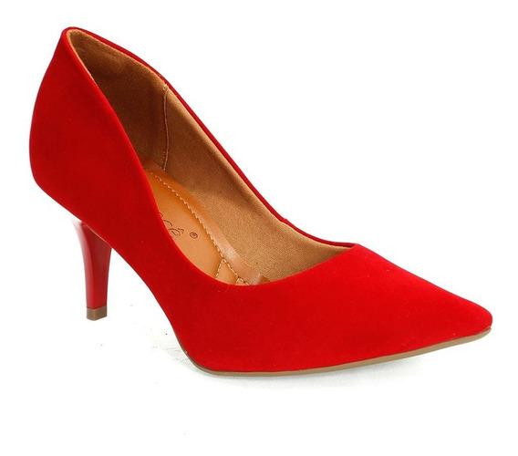 Sapato Feminino Scarpin Nobuck Vermelho Bebecê