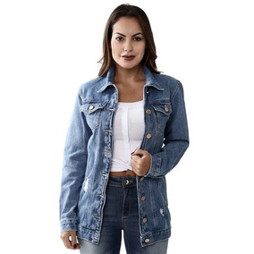 Jaqueta Maxi Jeans Sawary Feminina Azul Pronta Entrega