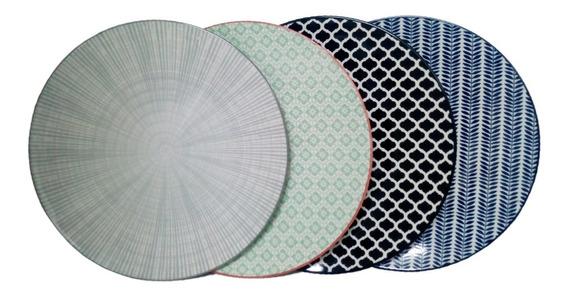 Plato Porcelana Set X 6 Diametro 26 Cm Diseños Surtidos