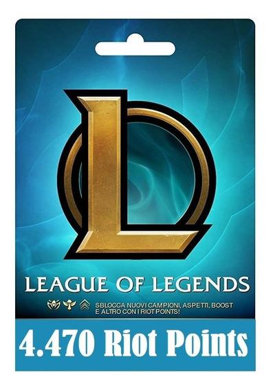Cartão League Of Legends Lol - 4470 Riot Points Rp Br Brasil