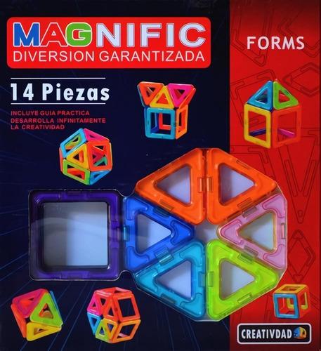Imagen 1 de 10 de Bloques Imanes Magnéticos Magnific Forms 14 Piezas Promo