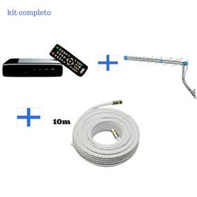 Kit Conversor Tv Digital + Antena Com Base+ Cabo De 10 Metro
