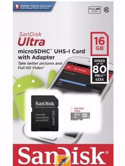 Cartão Micro Sd Sandisk 16gb Classe10 Ultra 80mbs Original