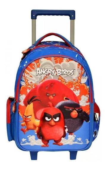 Mochila De Rodinha Angry Birds Com Desenho Em 3d +lancheira