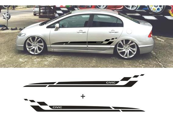Faixas Laterais Honda Civic Adesivos Portas 07 08 09 10 11
