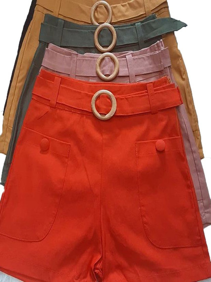 Shorts Feminino Cintura Alta Bengaline Com Cinto E Fivela 01